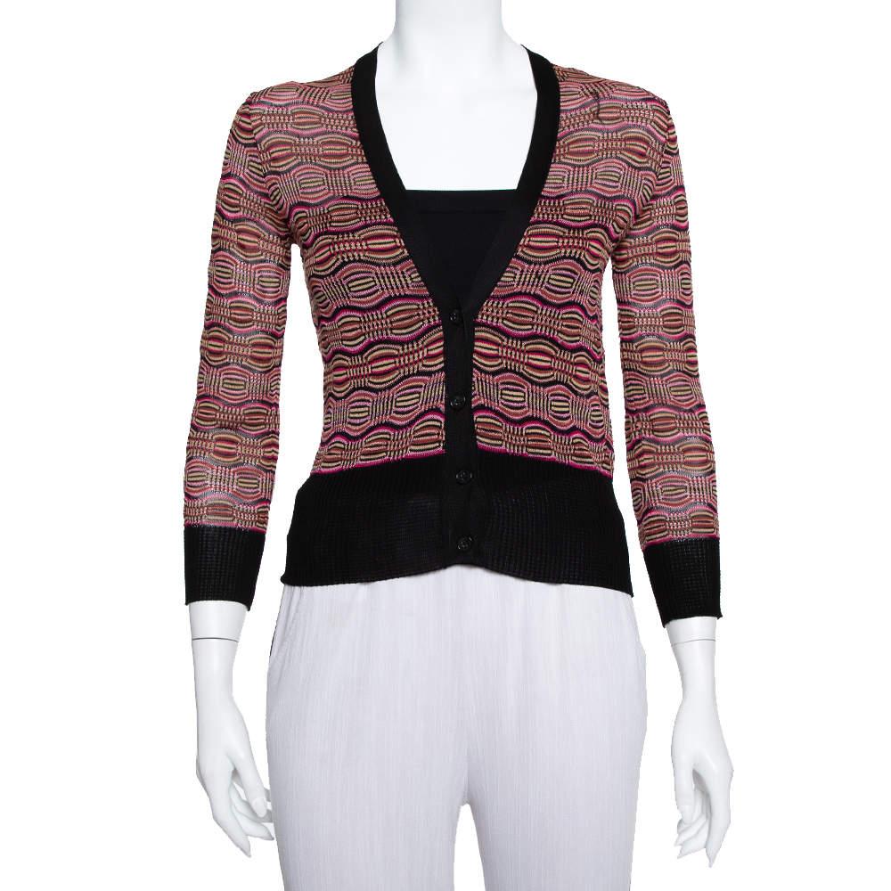 M Missoni Multicolor Knit Plunge Neck Button Front Cropped Cardigan M