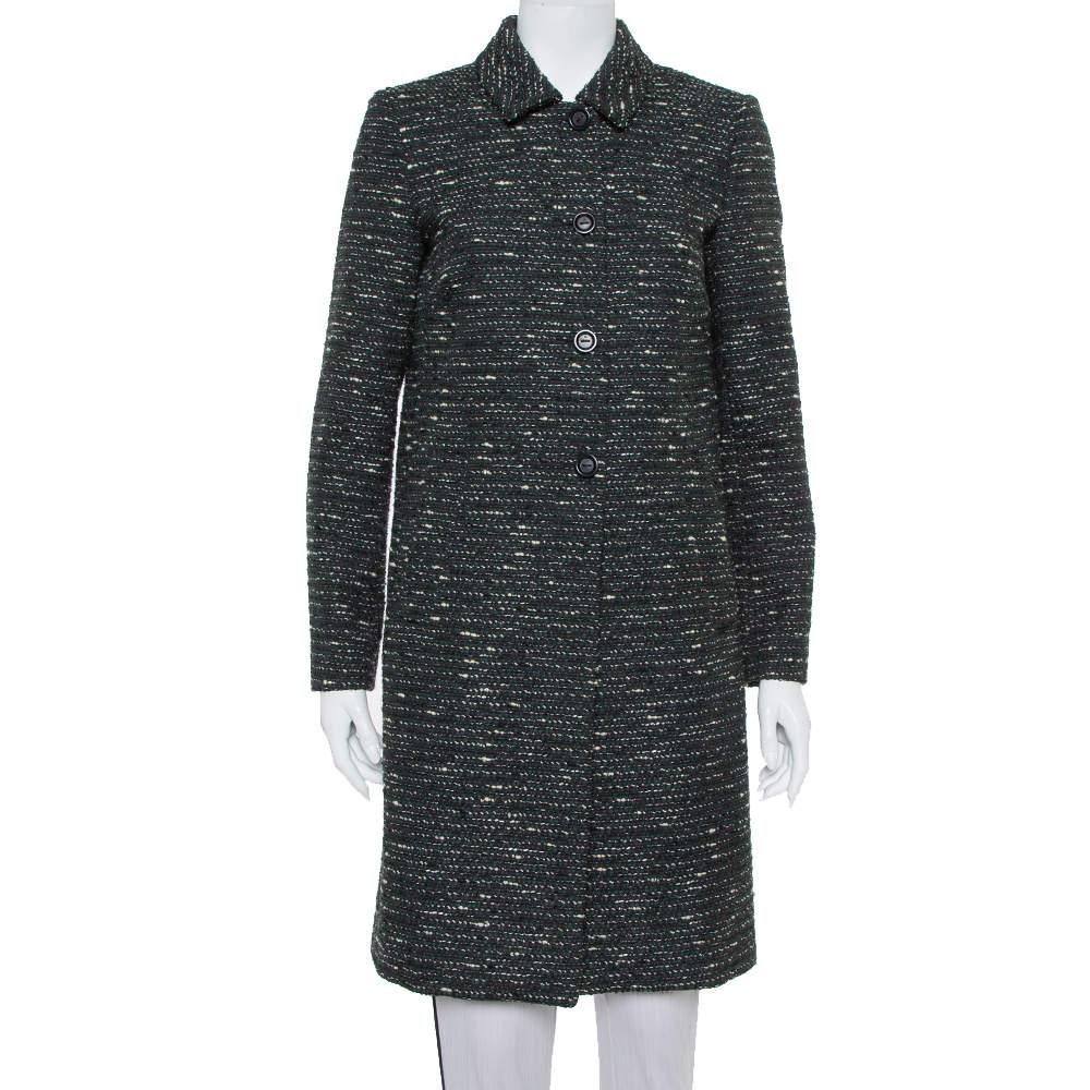 M Missoni Black Tweed Button Front Mid Length Coat M