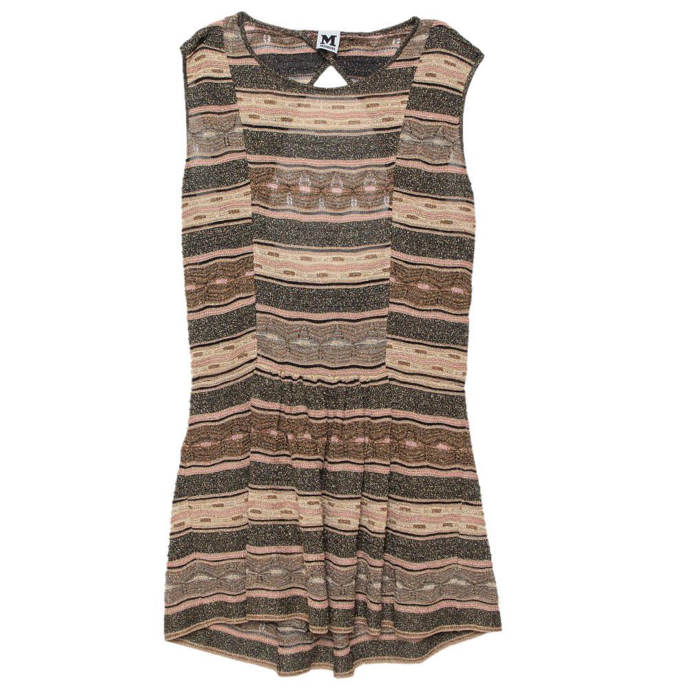 M Missoni Multicolor Lurex Knit Open Back Detail Mini Dress L