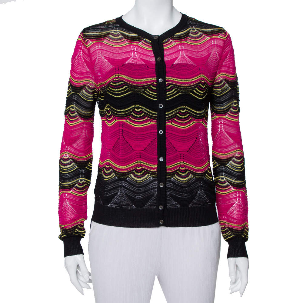 M Missoni Multicolor Patterned Knit Button Front Cardigan S
