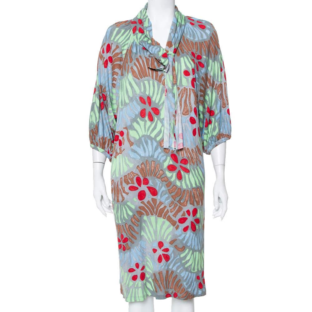 M Missoni Grey Floral Printed Neck Tie Detail Dress L