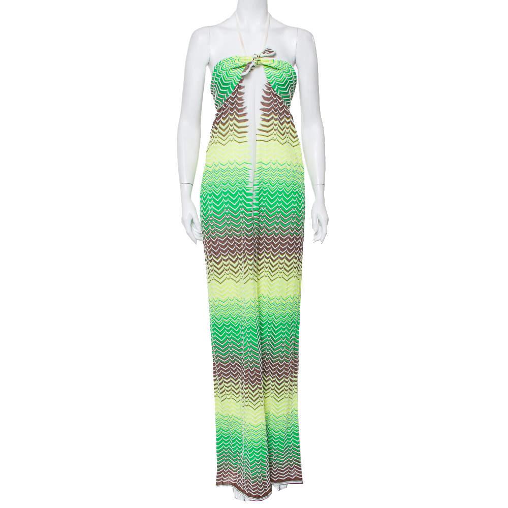 M Missoni Multicolor Chevron Patterned Knit Halter Neck Maxi Dress M
