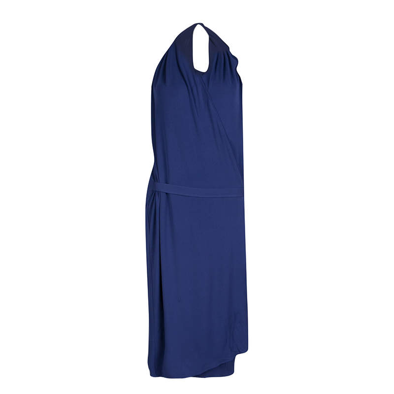 Maison Martin Margiela Blue Knit Halter Wrap Dress L