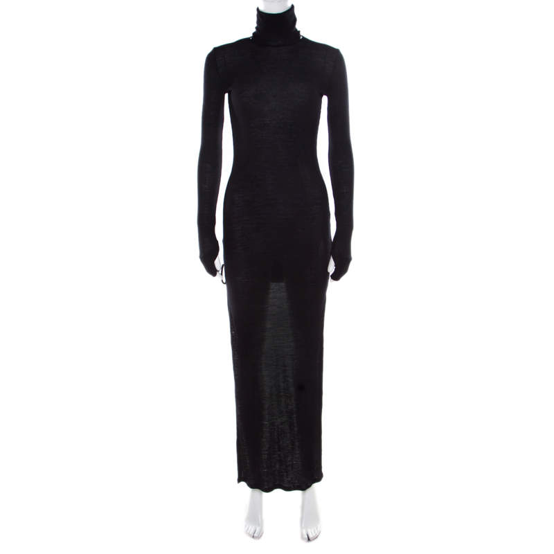 MM6 Maison Margiela Black Ribbed  Knit Turtle Neck High Low Sweater Dress M
