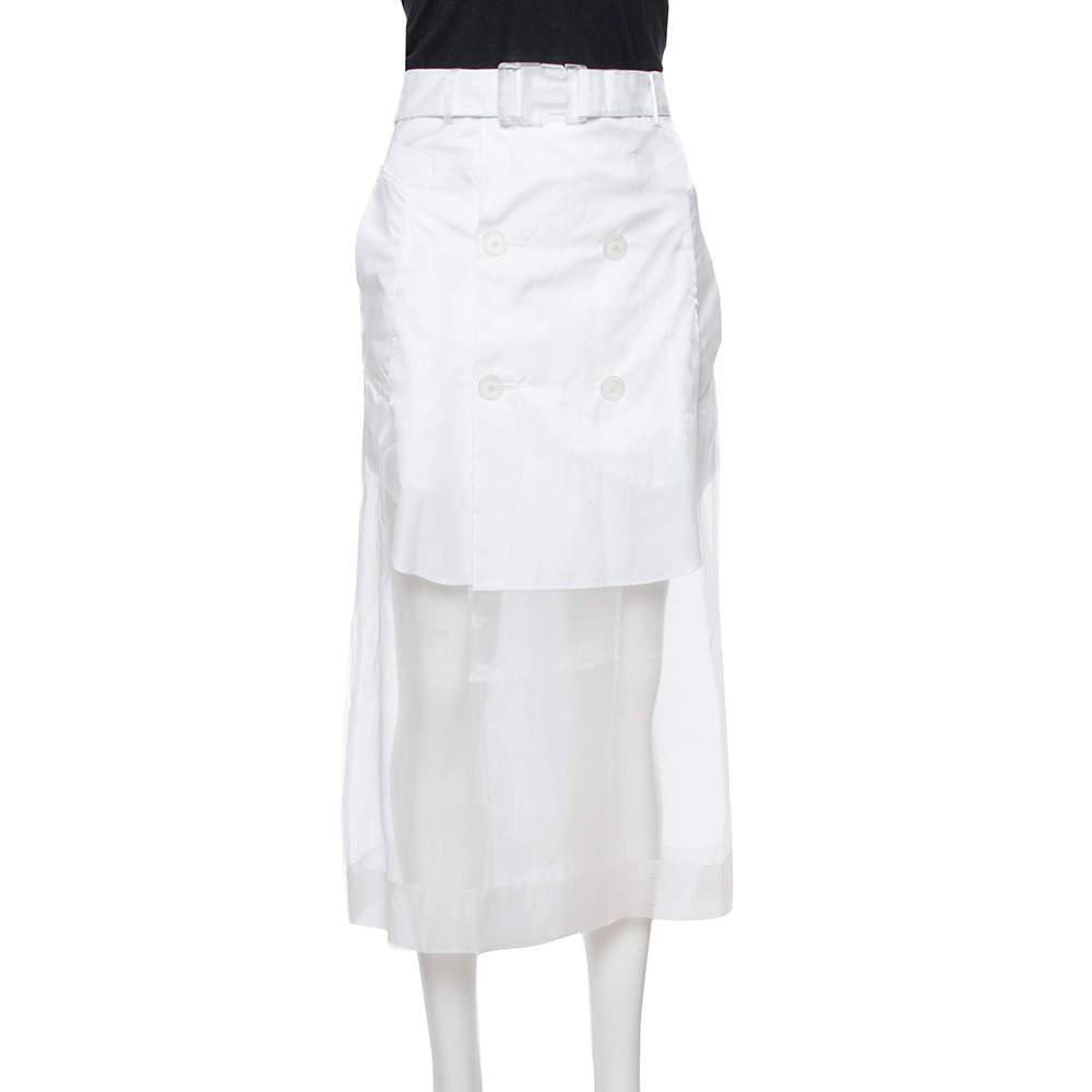 Maison Martin Margiela White Sheer Paneled Skirt L