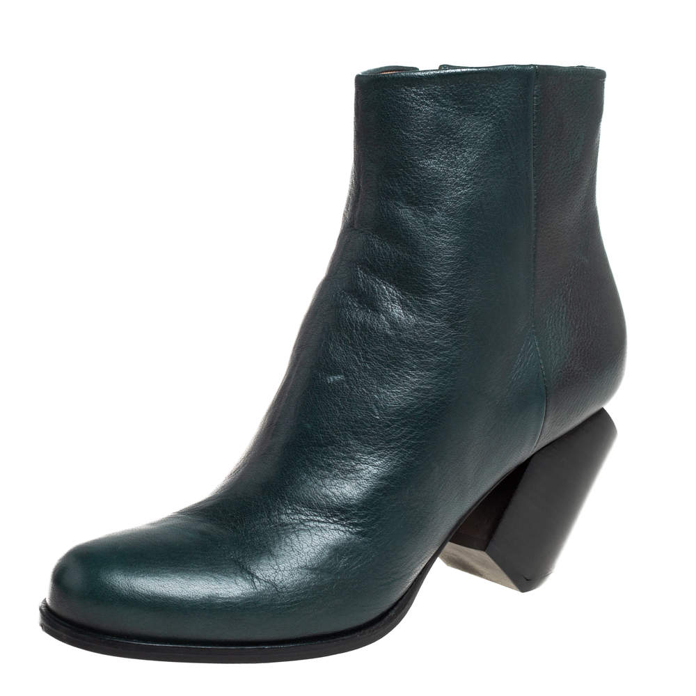 Maison Martin Margiela Green Leather Ankle Boots Size 40