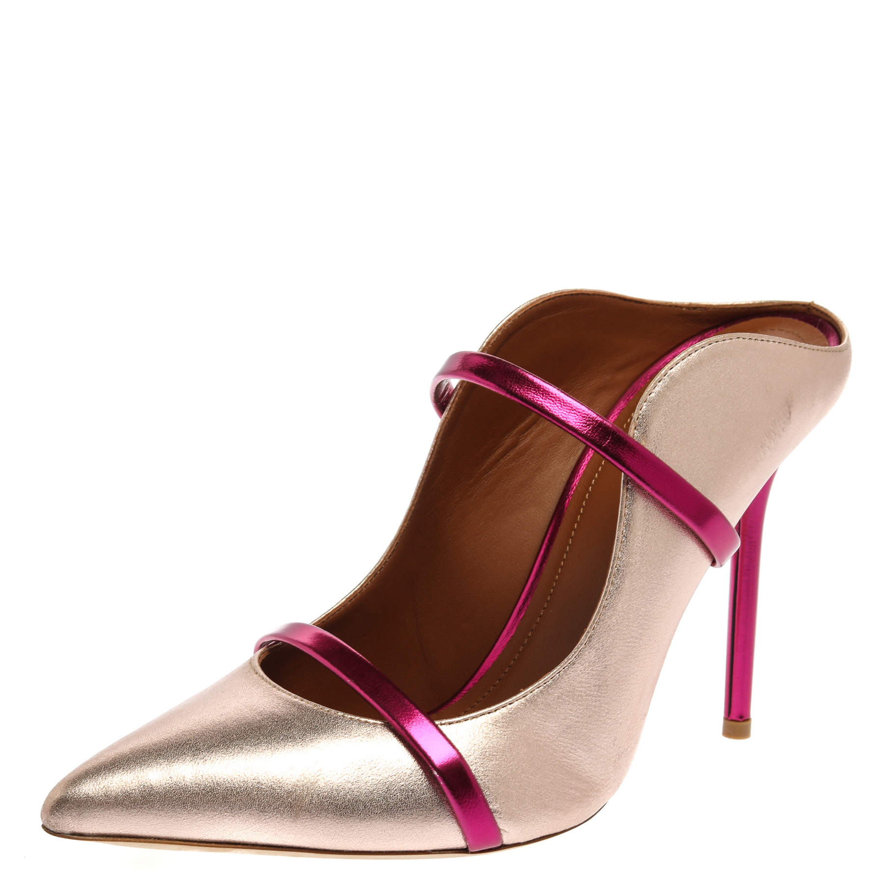 Malone Souliers Rose Gold Leather Maureen Sandals Size 38.5