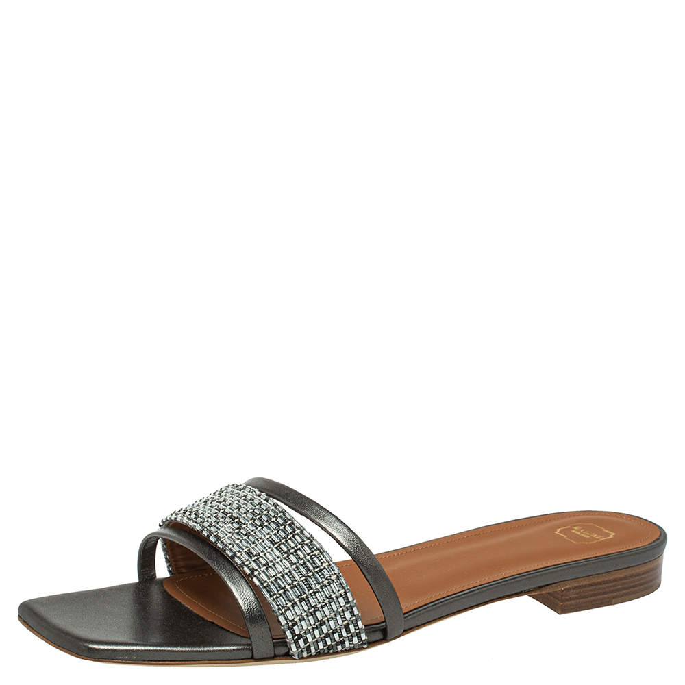 Malone Souliers Metallic Grey/Silver Leather And Fabric Demi Flat Slides Size 41