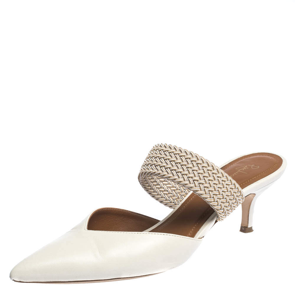 Malone Soulier Cream Leather And Elastic Maisie Pointed Toe Mules Size 38.5