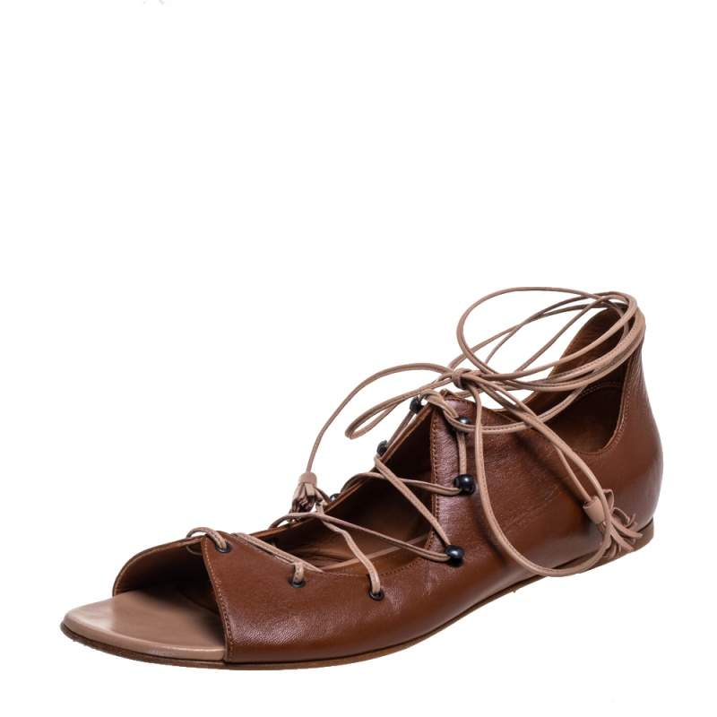 Malone Souliers Brown Leather Savannah Ankle Wrap Flats Size 41
