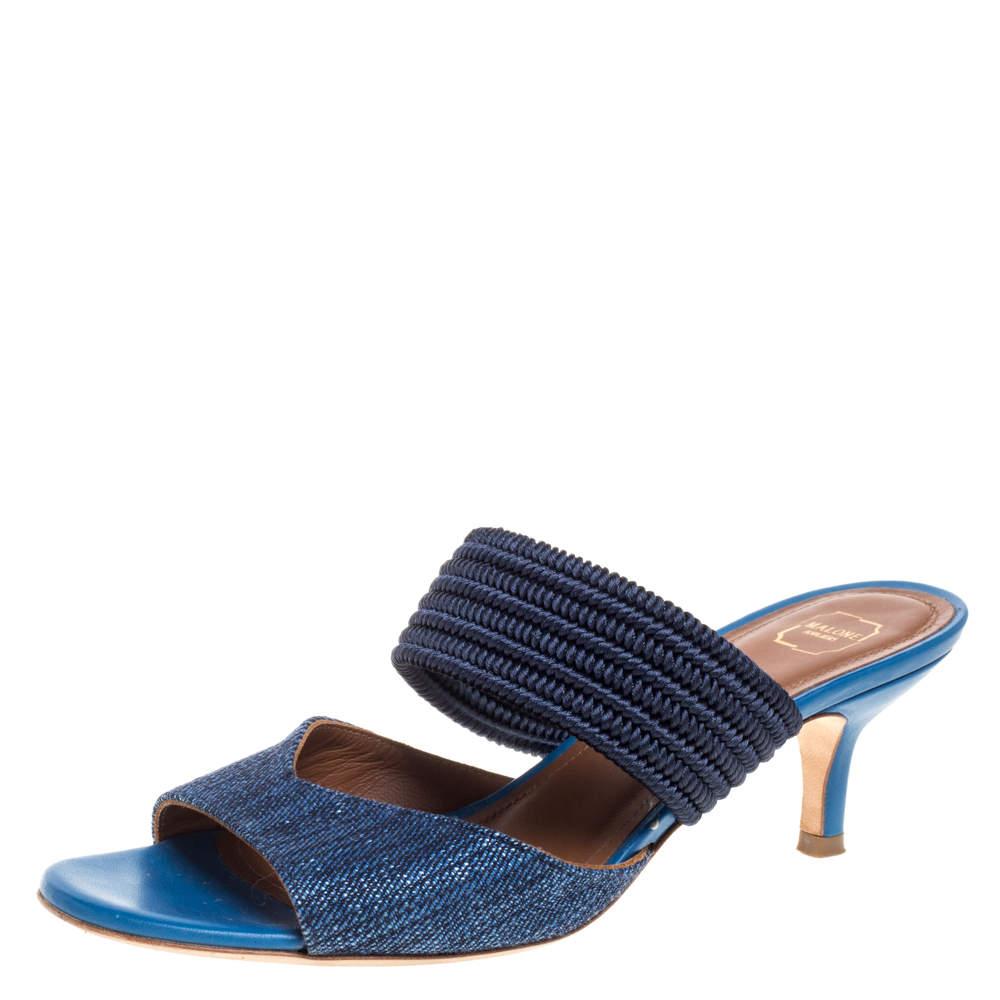 Malone Souliers Blue Fabric Milena Slide Sandals Size 35