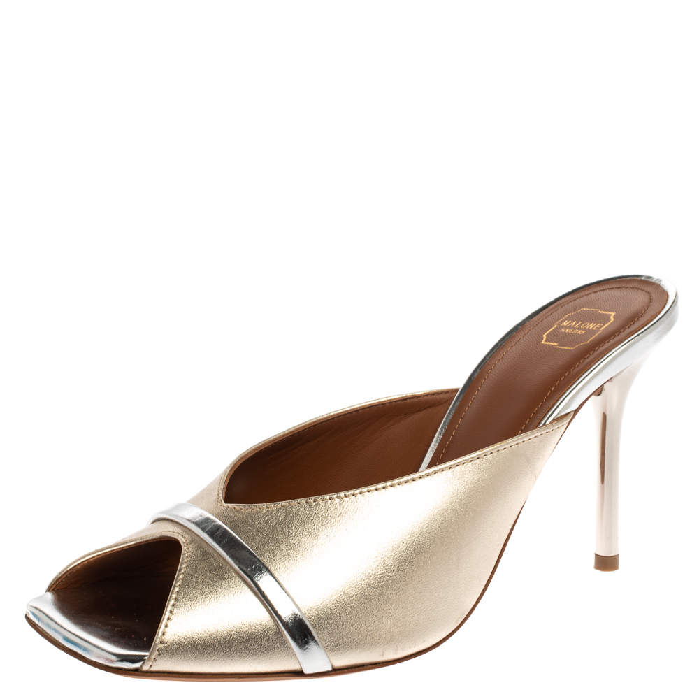 Malone Souliers Gold/Silver Leather Lucia Open Toe Mules Size 37