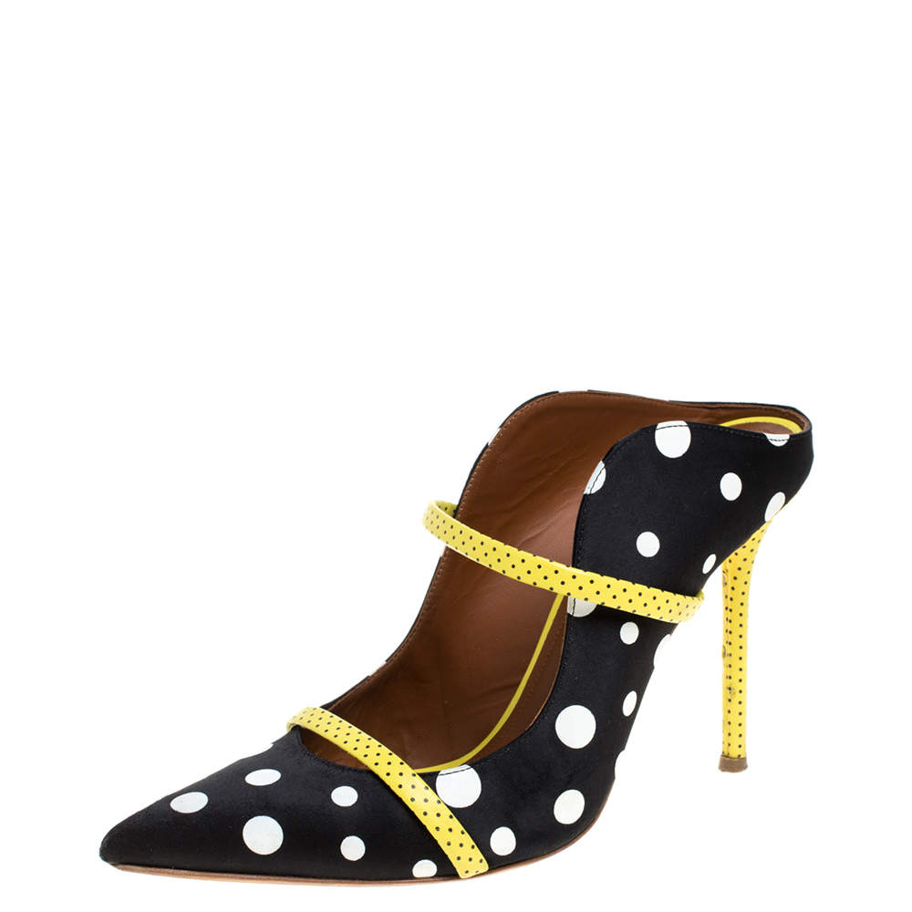 Malone Souliers Black Polka Dots Nylon and Leather Trim Maureen Pointed Toe Mules Size 39