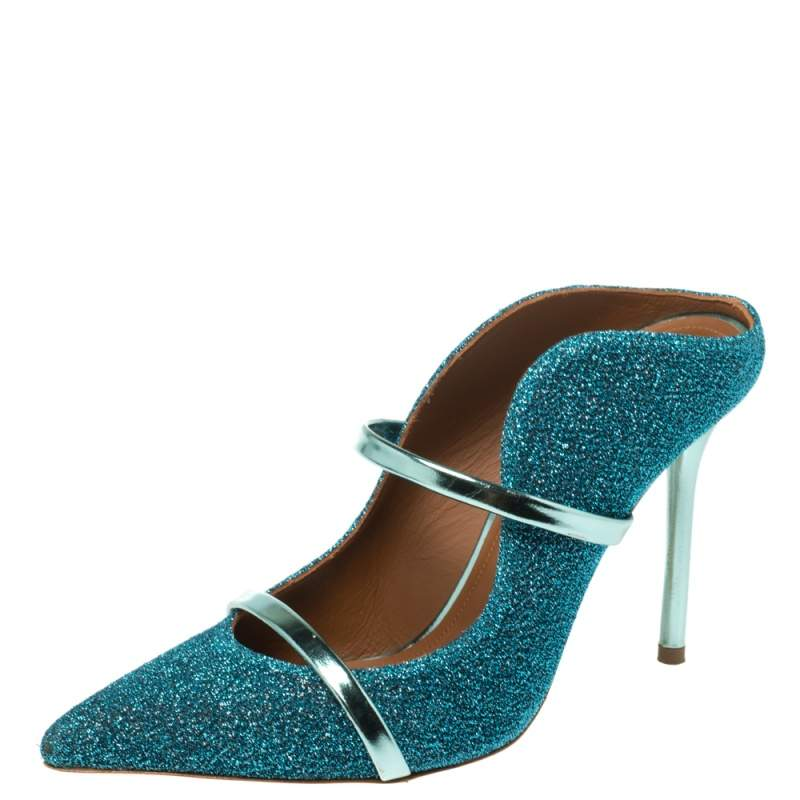 Malone Souliers Blue Fabric Maureen Pointed Toe Mules Size 36
