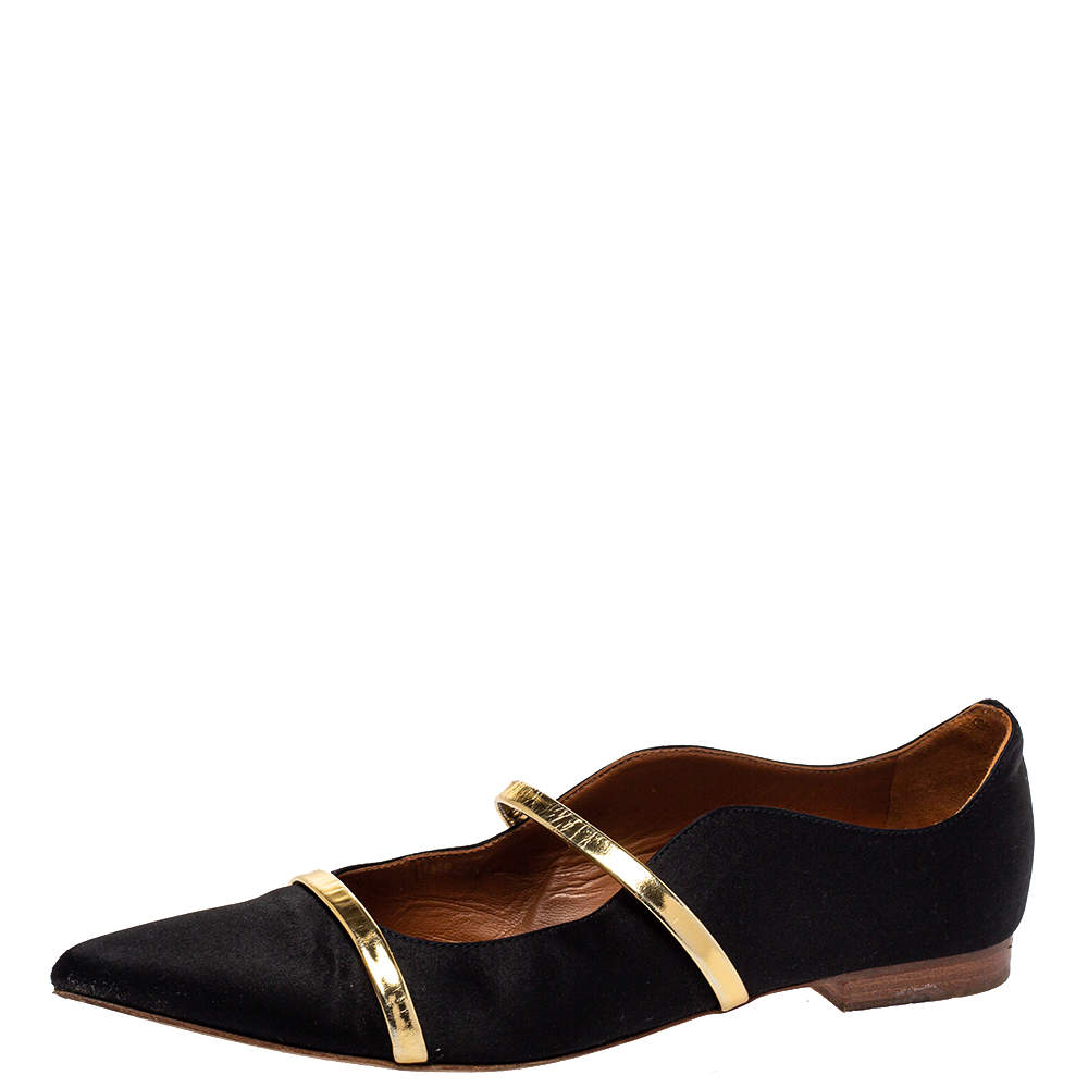 Malone Souliers Black Satin Maureen Pointed Toe Ballet Flats Size 37.5