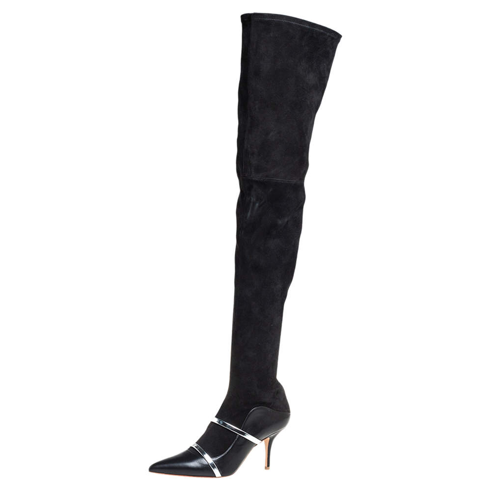 Malone Souliers By Roy Luwolt Black Suede And Leather Madison Thigh High Boots Size 39