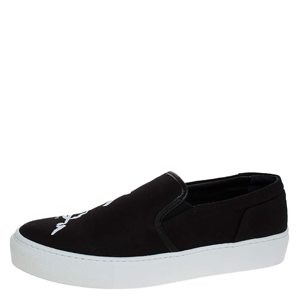Kenzo Black Canvas Slip On Sneakers Size 37