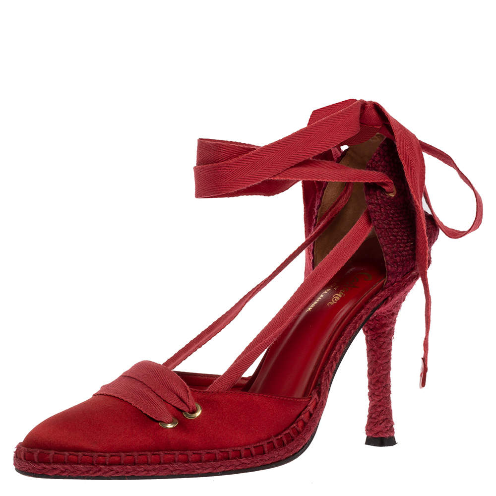 Castaner By Manolo Blahnik Red Satin And Canvas Espadrille Pointed Toe Ankle Tie Sandals Size 39