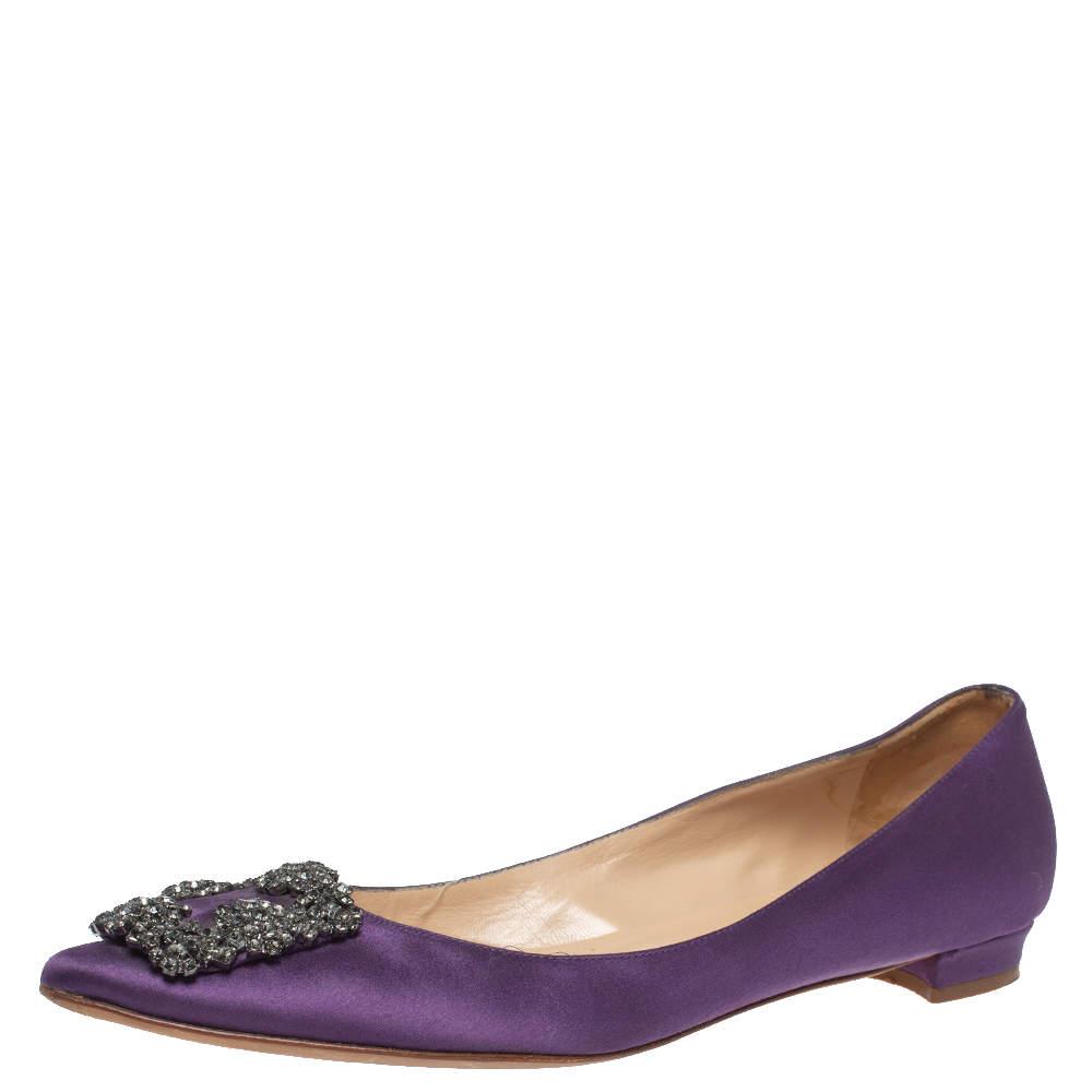 Manolo Blahnik Purple Satin Hangisi Pointed Toe Flats Size 38.5