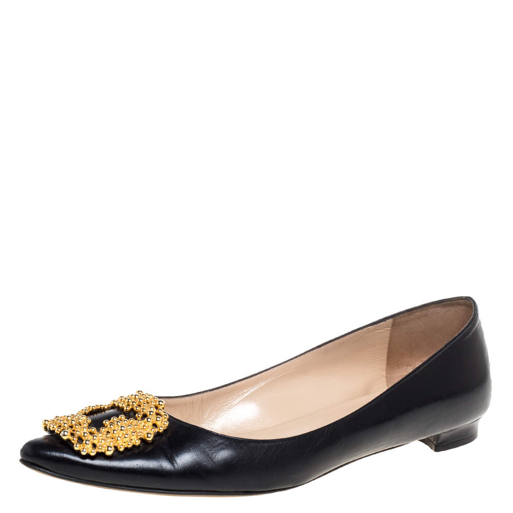 Manolo Blahnik Black Leather Hangisi Embellished Ballet Flats Size 39.5