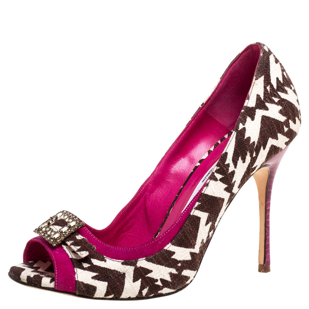 Manolo Blahnik Tri Color Printed Canvas And Suede Buckle Embellished Detail  Peep Toe Pumps Size 37