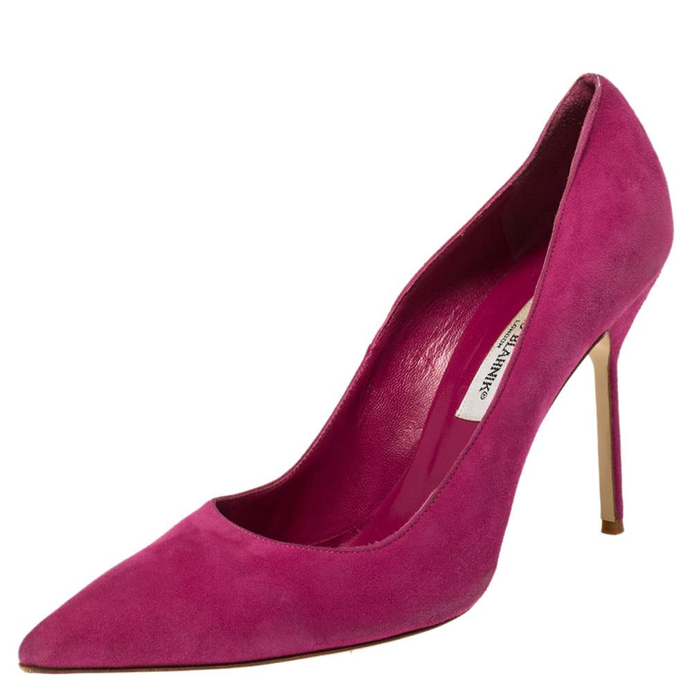 Manolo Blahnik Pink Suede BB Pointed Toe Pumps Size 41
