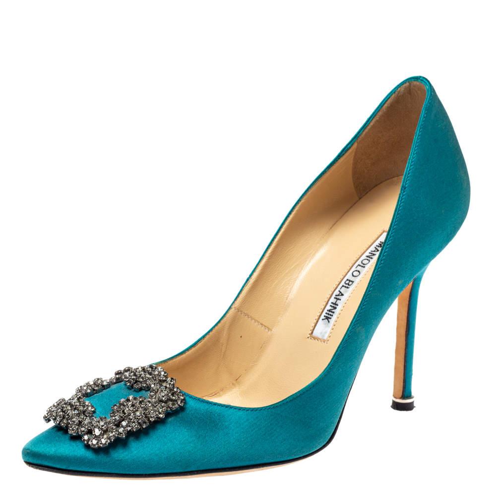 Manolo Blahnik Teal Blue Satin Hangisi Crystal Embellished Pointed Toe Pumps Size 38