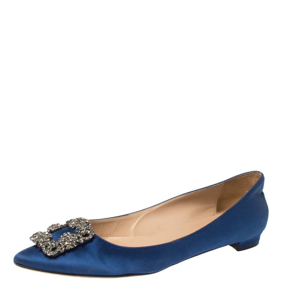 Manolo Blahnik Blue Satin Hangisi Crystal Embellished Ballet Flats Size 39