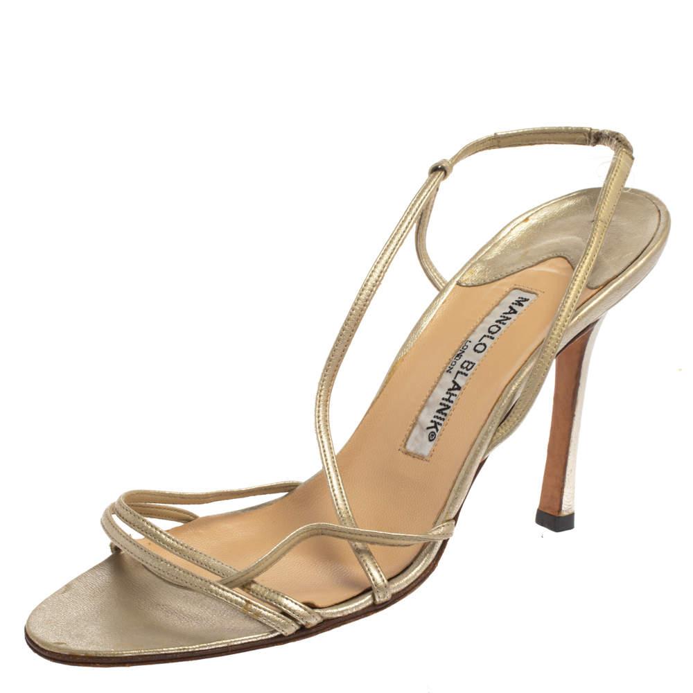 Manolo Blahnik Light Gold Leather Strappy Slingback Sandals Size 37.5