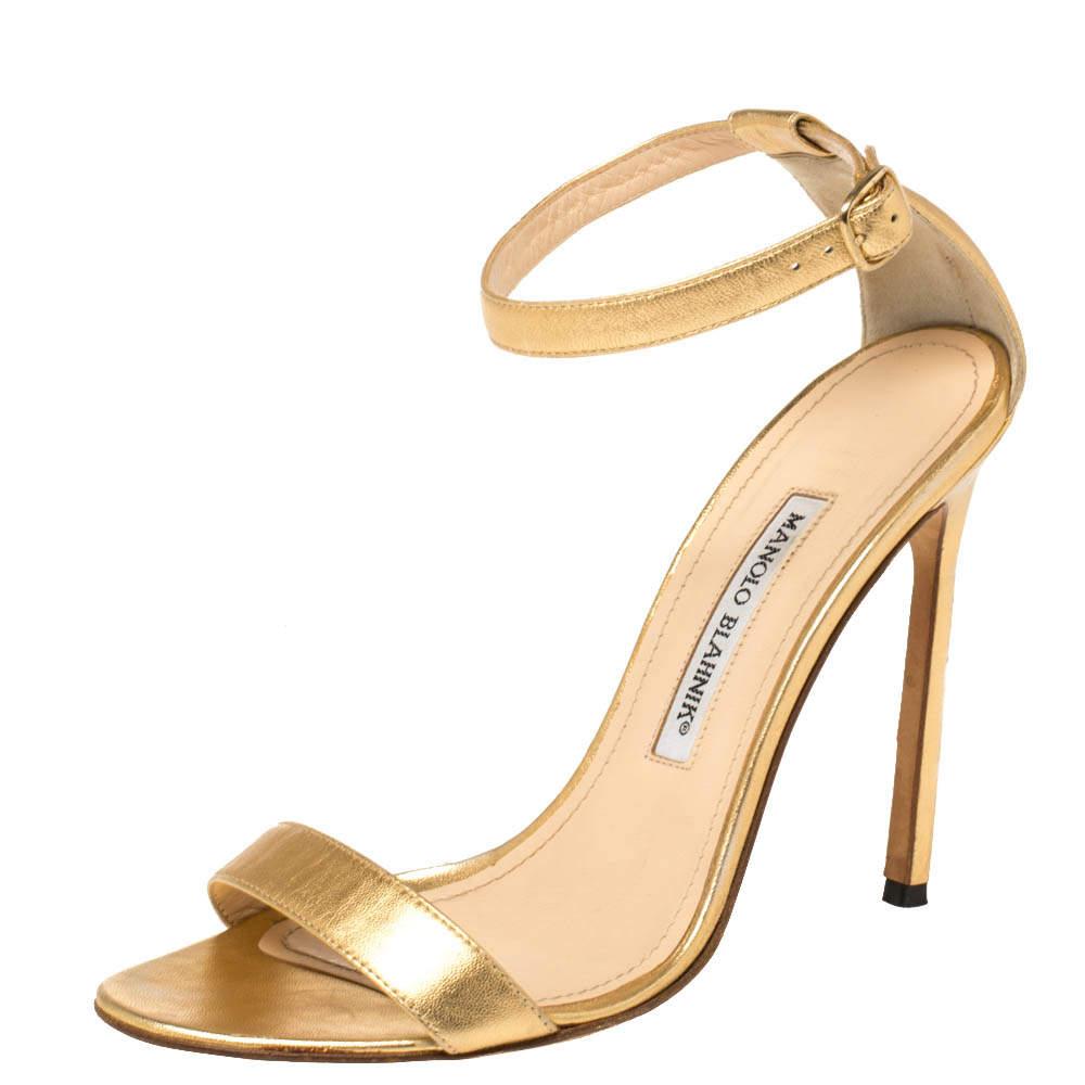 Manolo Blahnik Gold Leather Spezia Ankle Strap Sandals Size 38.5