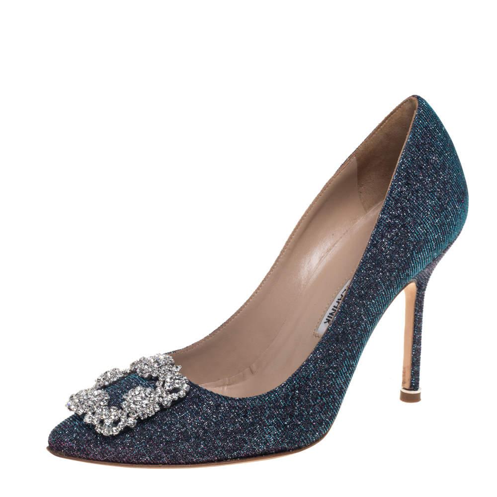 Manolo Blahnik Blue Glitter Fabric Hangisi Crystal Embellished Pumps Size 37