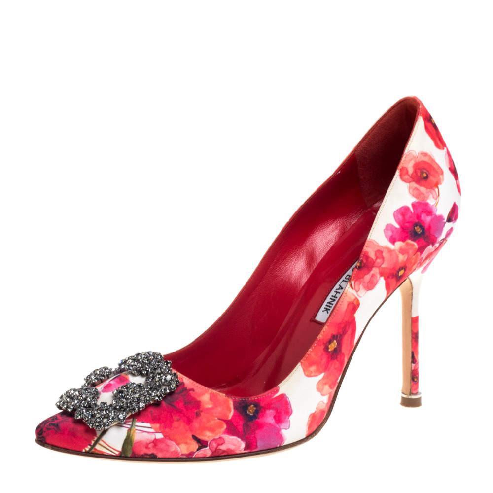 Manolo Blahnik Multicolor Floral Satin Hangisi  Pumps Size 38.5