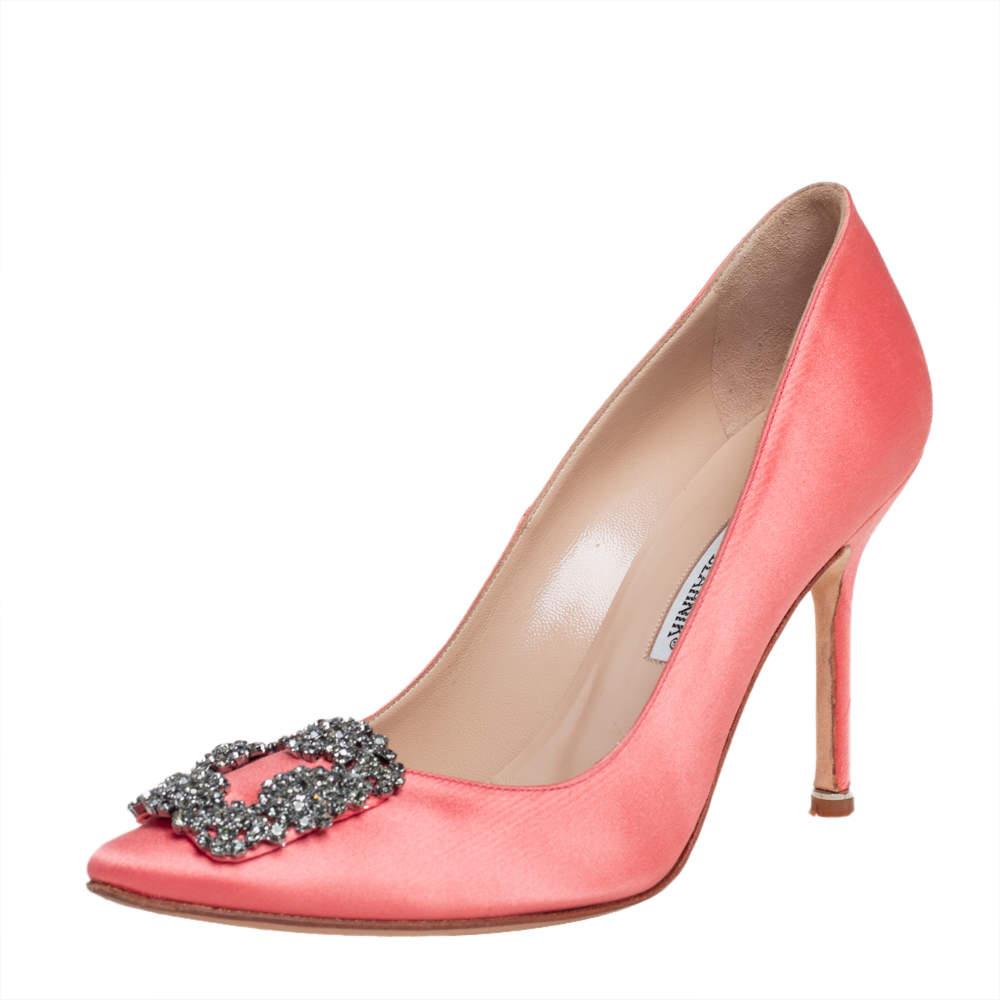 Manolo Blahnik Pink Satin Hangisi Crystal Embellished Pumps Size 37.5