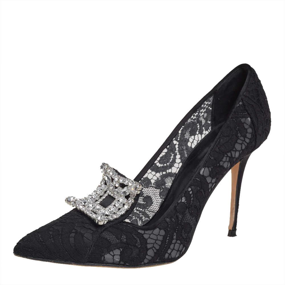 Manolo Blahnik Black Lace And Satin Borlak Crystal Embellished Pumps Size 39.5