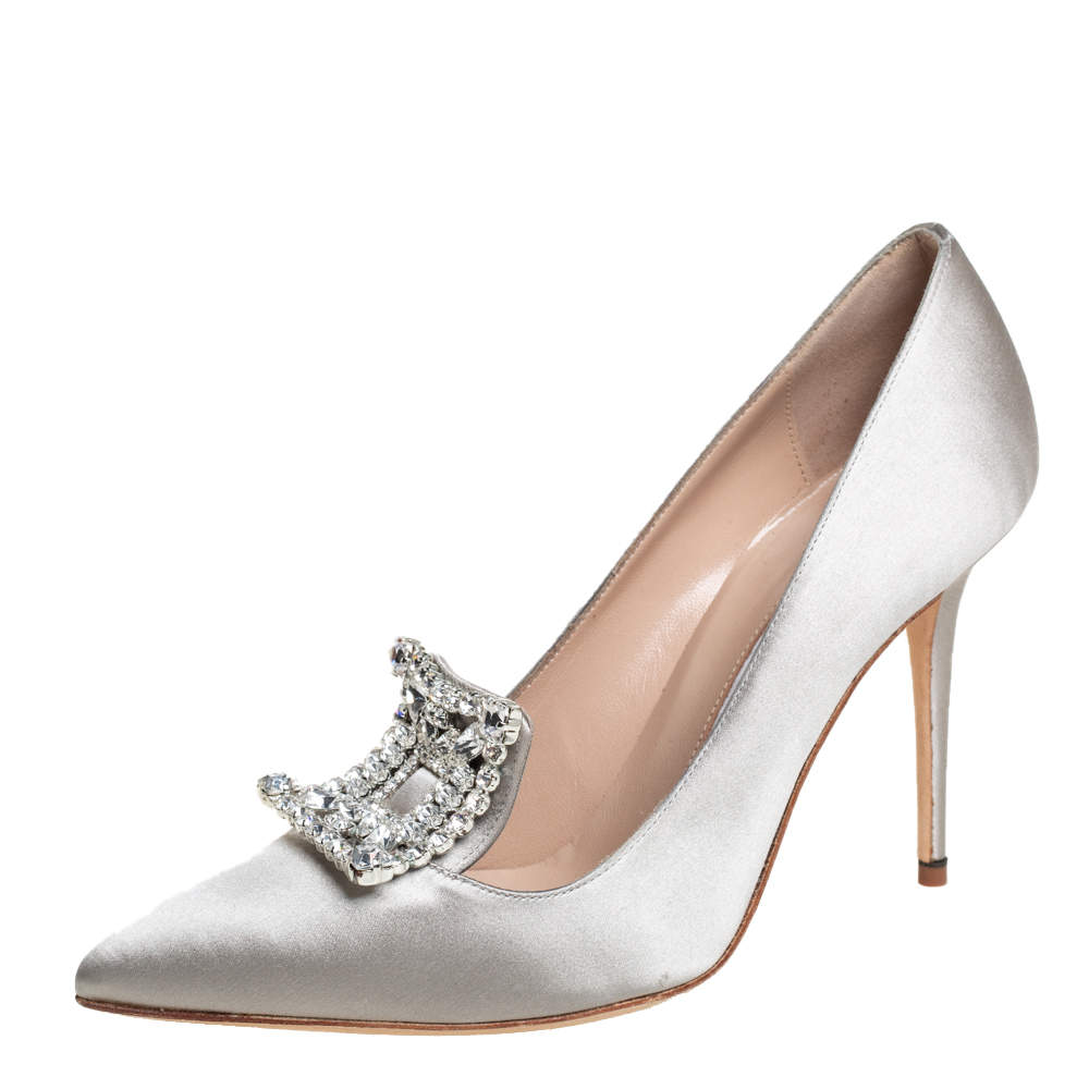 Manolo Blahnik Grey Satin Borlak Embellished Pumps Size 37.5