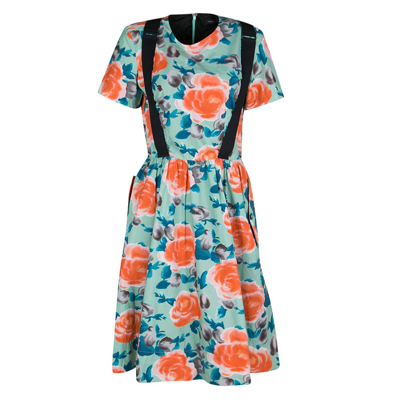 Marc by Marc Jacobs Pale Jade Jerrie Rose Printed Cotton Poplin Dress M
