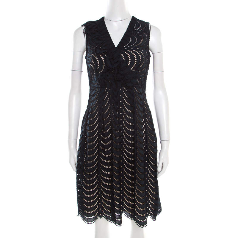 Marc By Marc Jacobs Navy Blue Eyelet Embroidered Ruffle Detail Edith Dress S