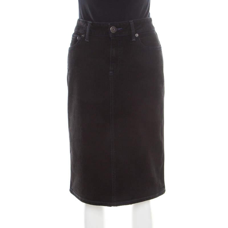Marc by Marc Jacobs Black Washed Denim Slit Detail Skirt M