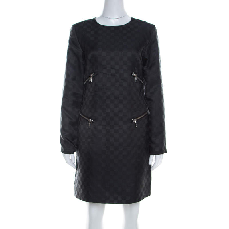 Marc by Marc Jacobs Dress Black Textured Check Twill Zipper Detail Shift Dress S
