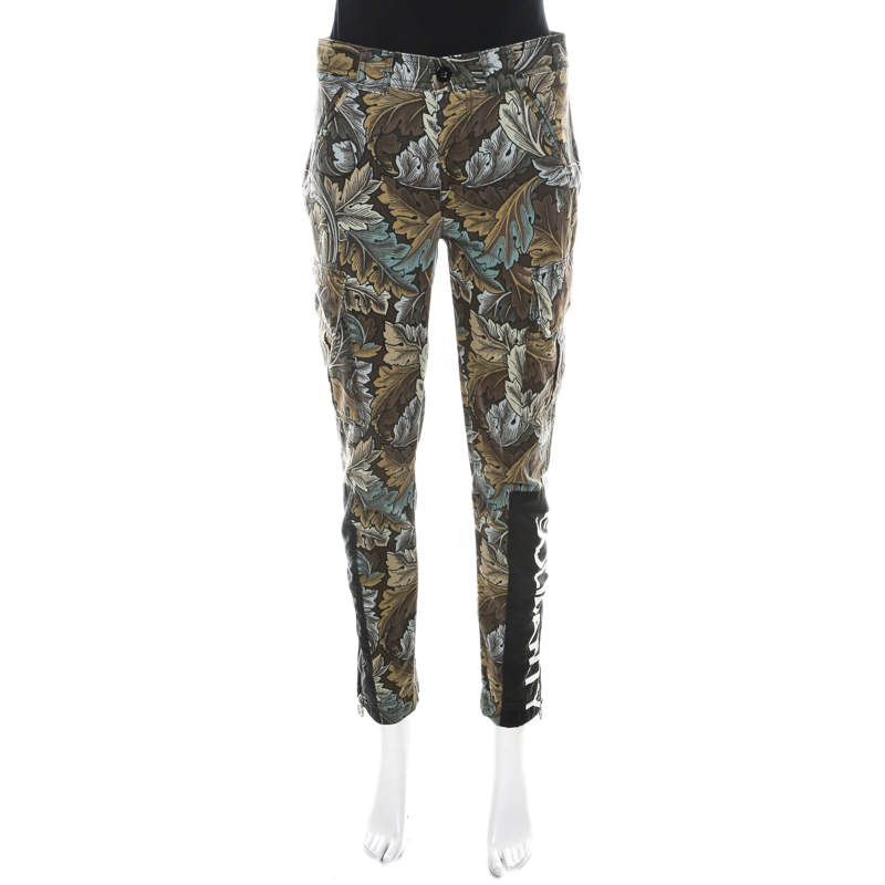 Marc by Marc Jacobs Elm Brown Ancathus Print Cotton Fitted Cargo Pants S
