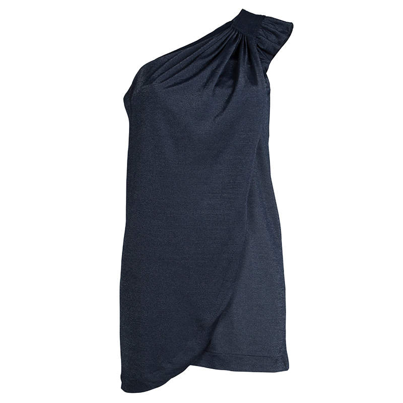 Marc by Marc Jacobs Blue Knit Draped One Shoulder Top XS