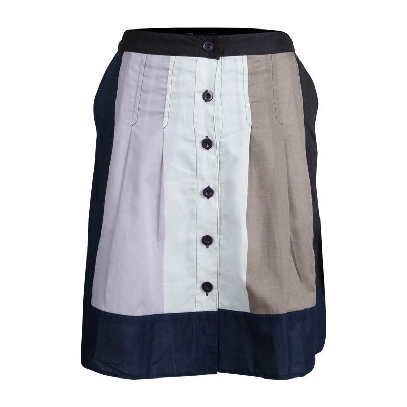 Marc by Marc Jacobs Colorblock Cotton Button Front Skirt S