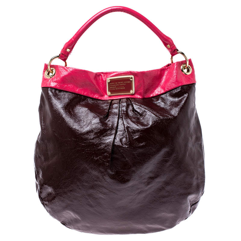 Marc by Marc Jacobs Brown/Pink Patent Leather Classic Q Hillier Hobo