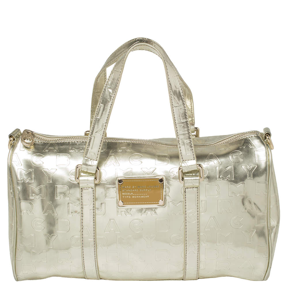 Marc by Marc Jacobs Metallic Gold Embossed Glossy Leather Boston Bag