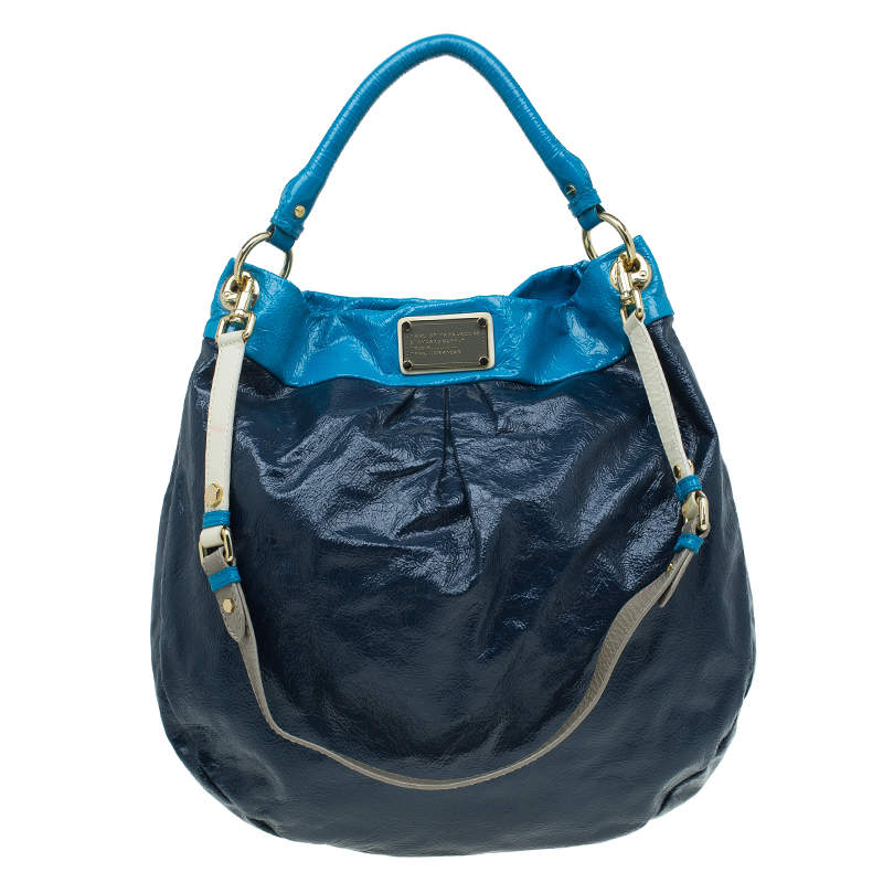 Marc by Marc Jacobs Navy Blue Bicolor Patent Leather Classic Q Hillier Hobo