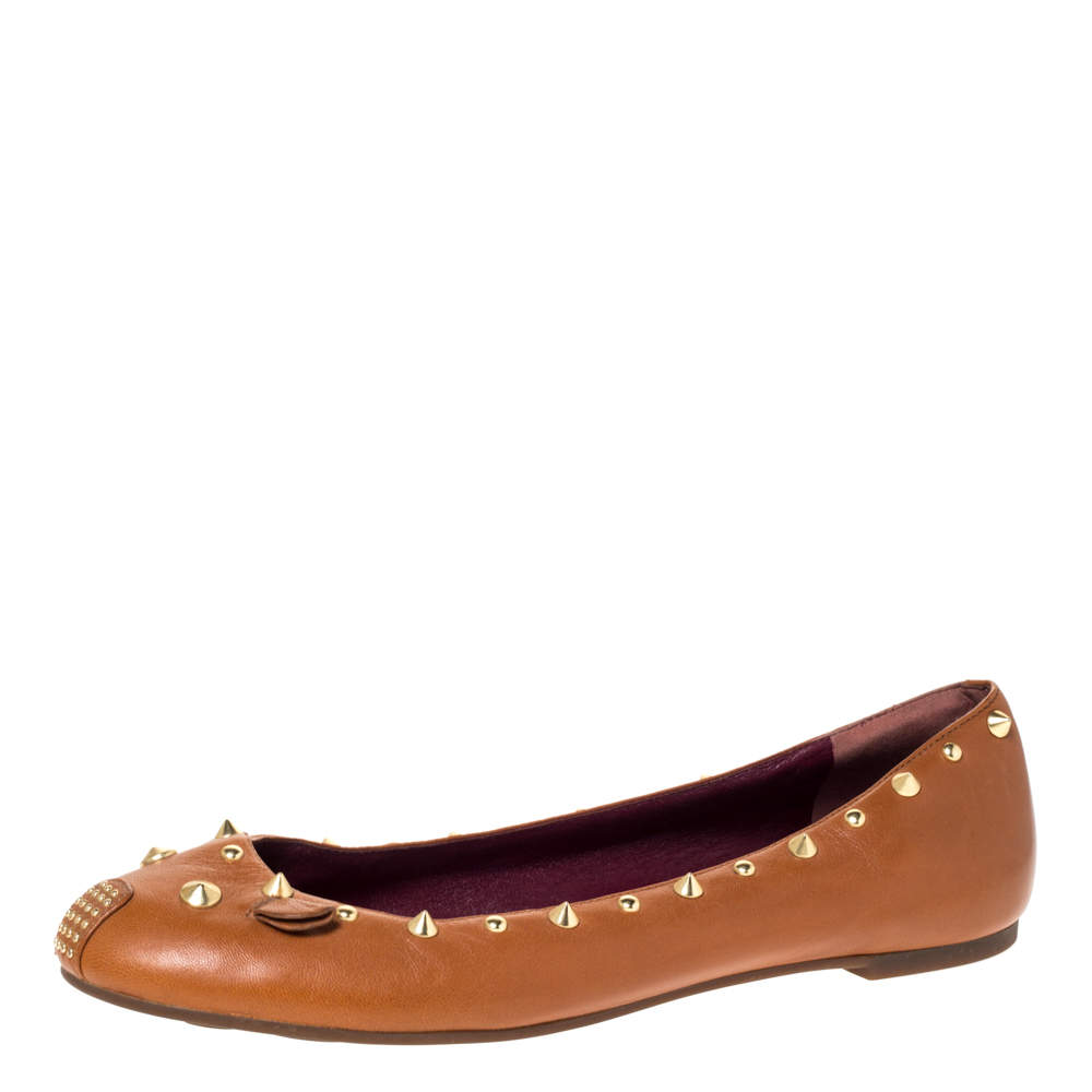 Marc by Marc Jacobs Tan Leather Spike Trim Mouse Ballet Flats Size 41