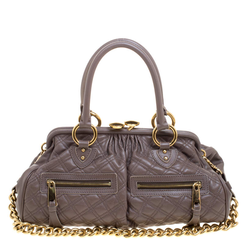 Marc Jacobs Dark Grey Quilted Leather Stam Satchel