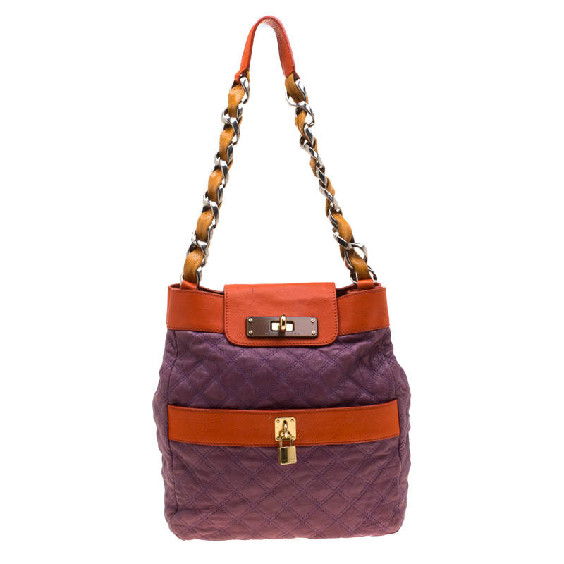 Marc Jacobs Purple/Orange Quilted Leather and Python Trim Chain Lock Hobo