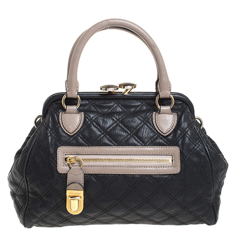 Marc Jacobs Black Quilted Leather Mini Stam Satchel