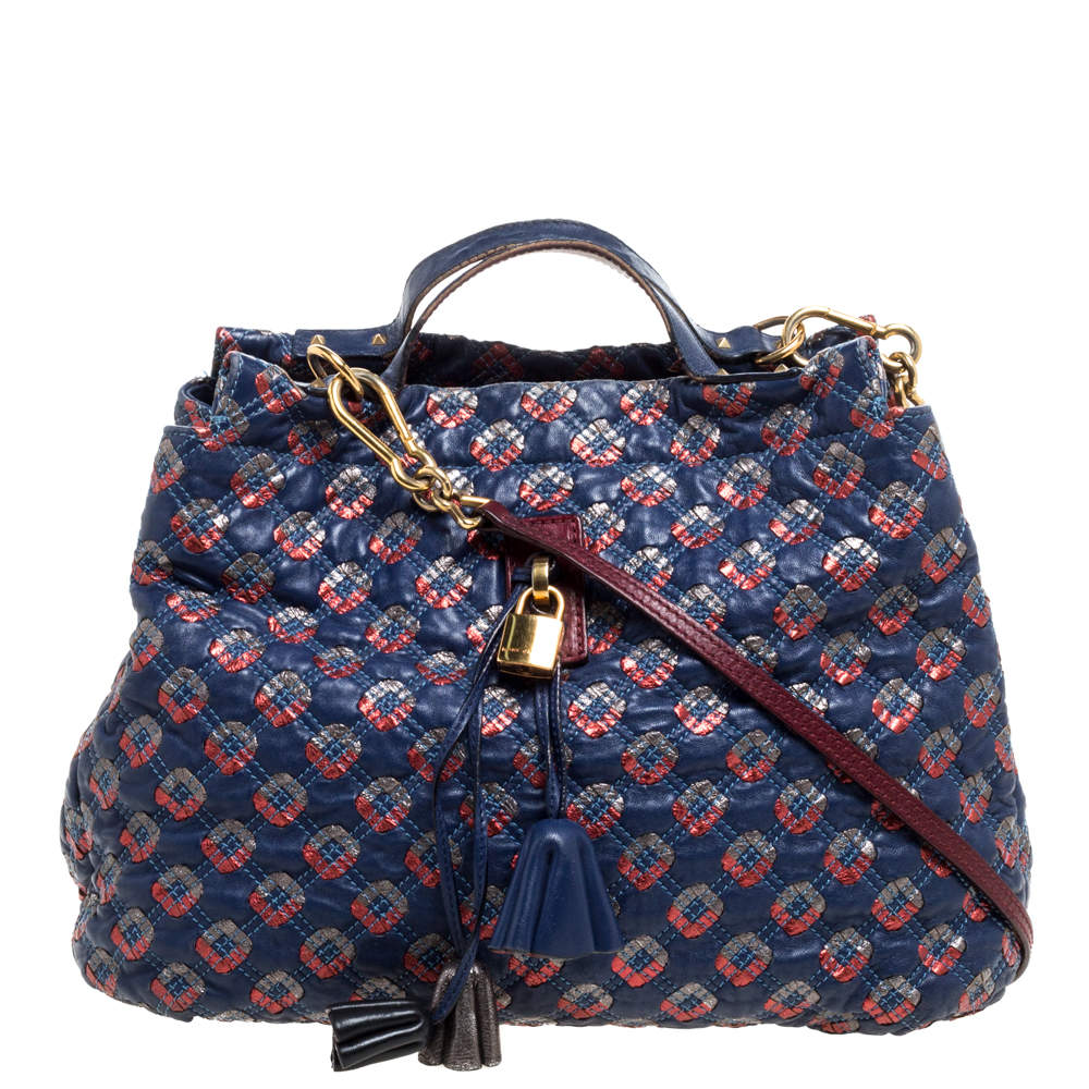 Marc Jacobs Blue/Metallic Quilted Leather Memphis Robert Jena Shoulder Bag
